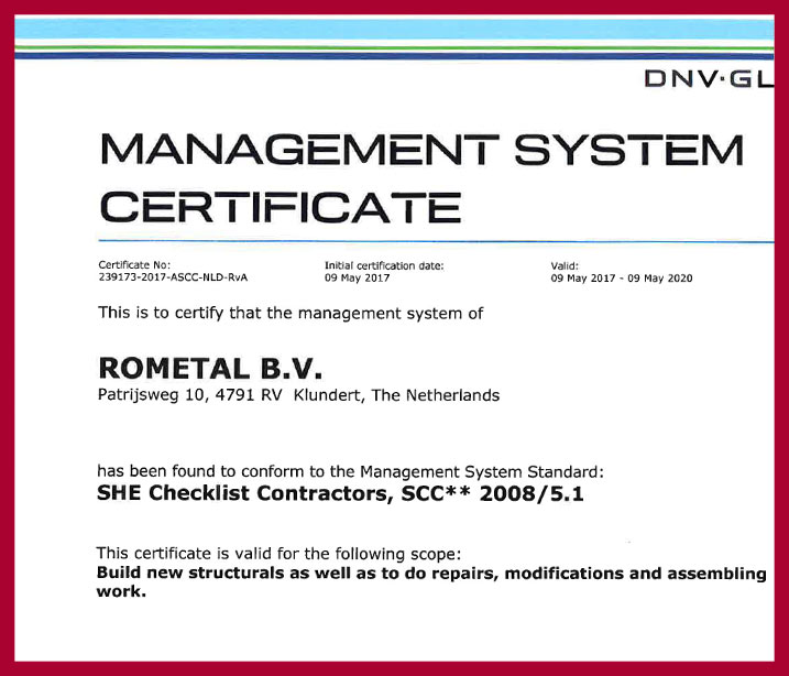 Rometal BV SHE Checklist Contractors